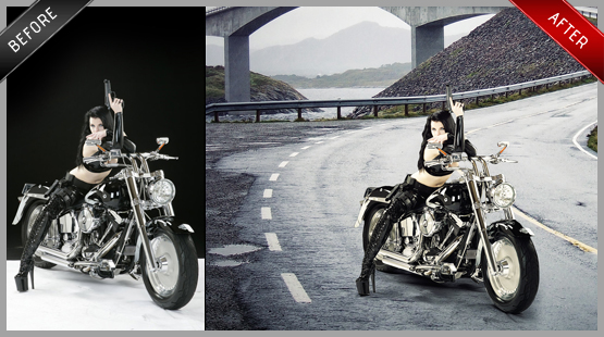 Harley Davidson on the road edit - bike, woman, hair, road, etc