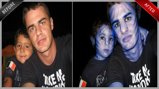 Avatar father & son edit - face, hair, eyes, ears, eyebrows, background, etc